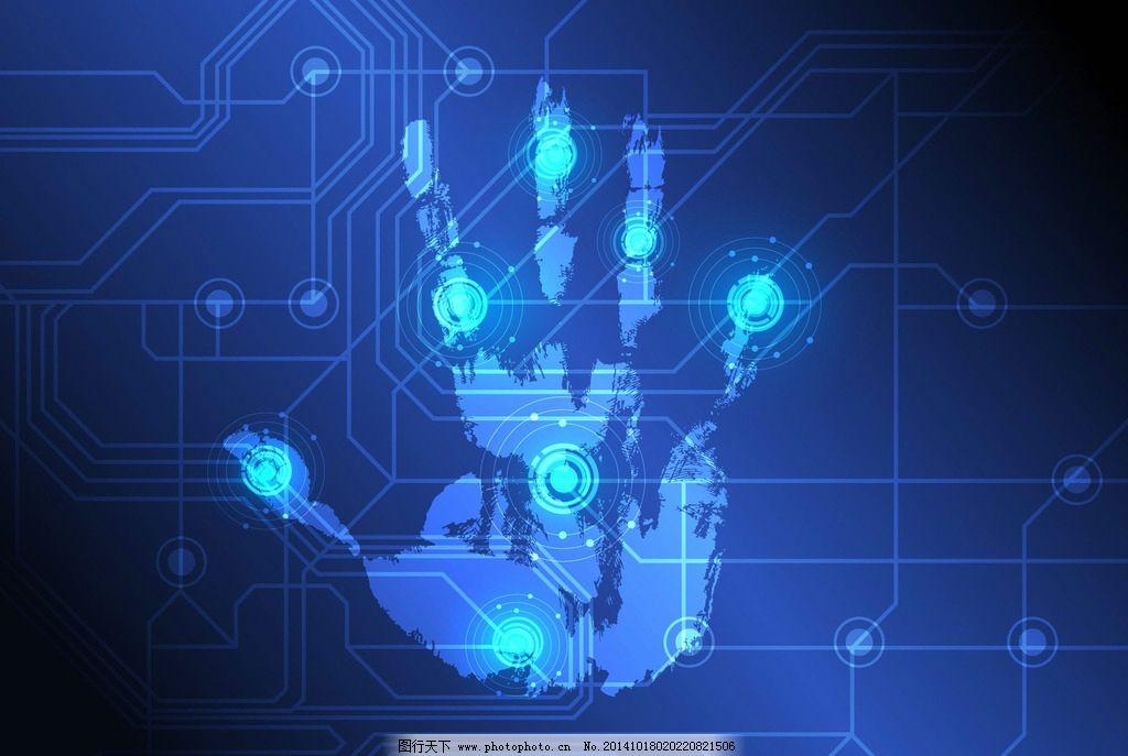 电路板 科技背景 手掌印 蓝色集成板 科技 线路排版 工业生产 现代