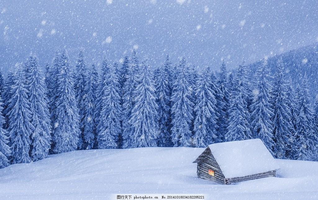 雪景 风景 雪林 房子 雪花 摄影
