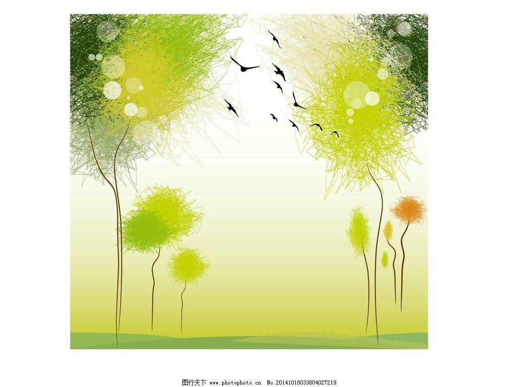 彩色蒲公英 鸟 手绘 时尚 个性 背景 图片素材