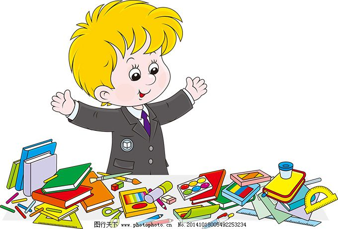 教育 图书 学习用品 卡通儿童与学习工具矢量素材 可爱的外国孩子