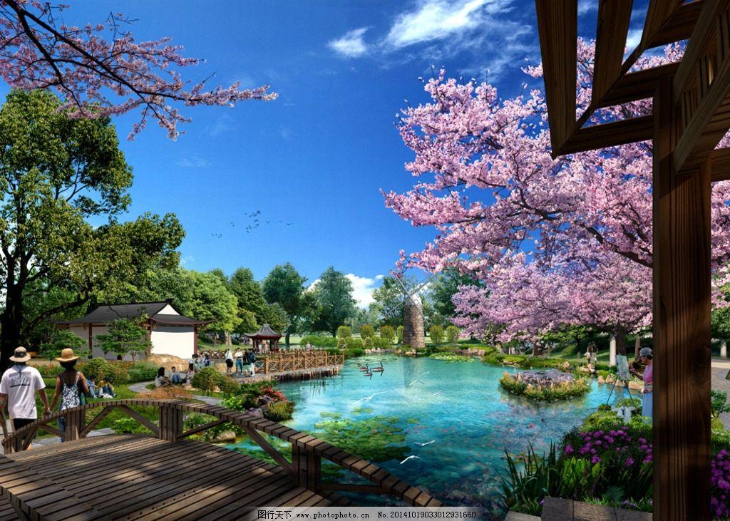 建筑景观园林效果图图片