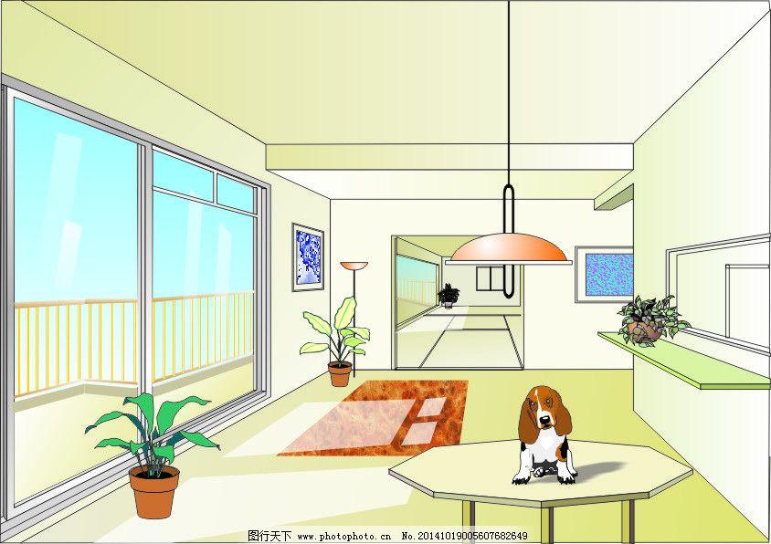 卡通小狗 手绘室内装饰 cdr室内设计 手绘室内装饰 卡通小狗 矢量图