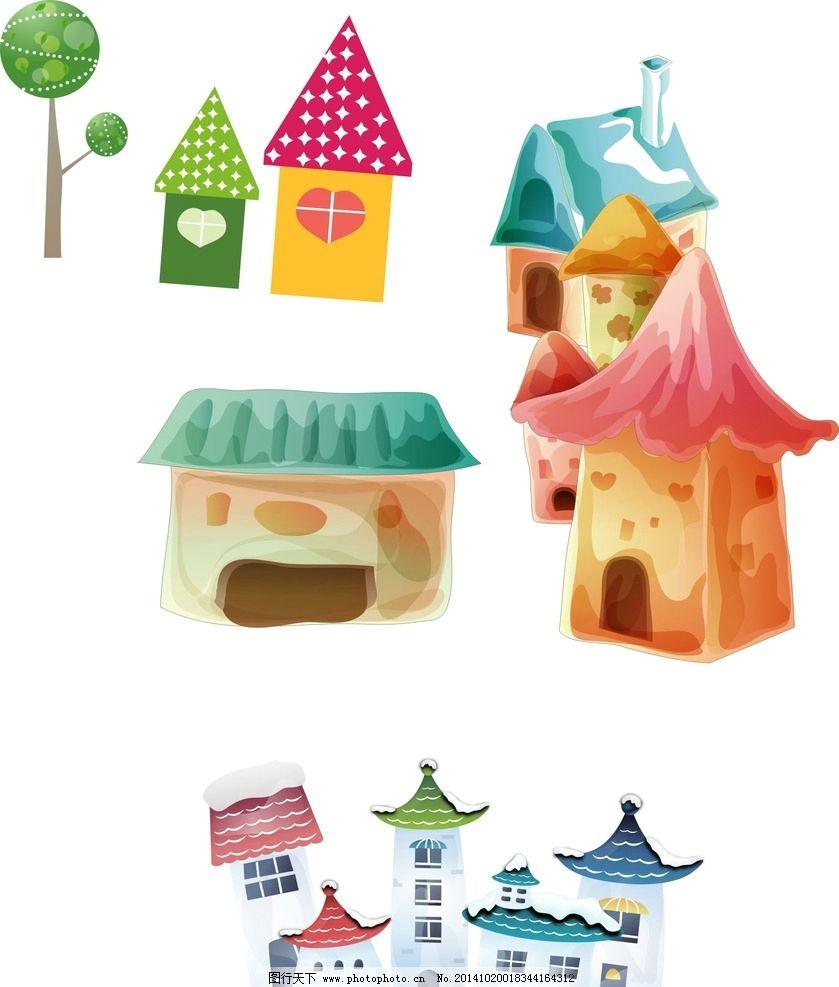 通 手绘房子图片,卡通素材 可爱 矢量图 抽象设计-图