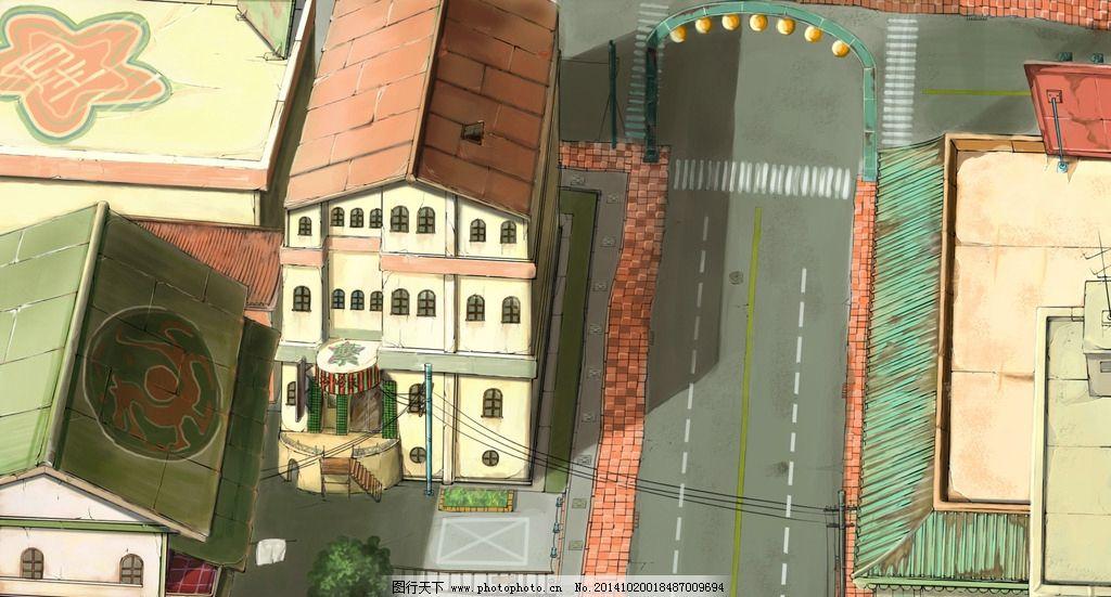 俯视街道 动画场景 美术素材 动画 设计 动漫动画 风景漫画 游戏场景