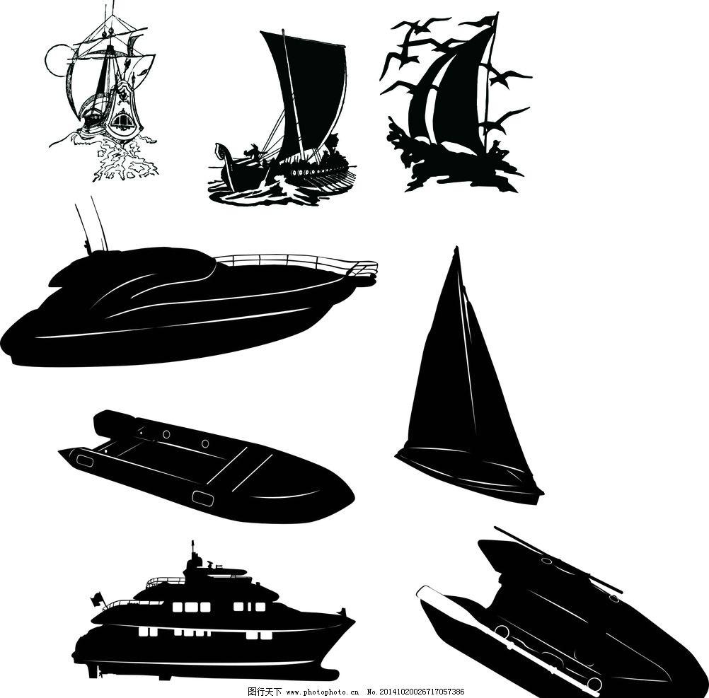 帆船 矢量图片,手绘帆船 剪影 黑白镂空 各种船 帆船
