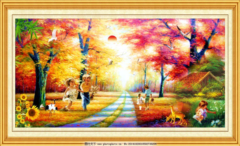 山水油画风景免费下载 壁画 风景 风景画 风景油画 家居装饰画 欧式油