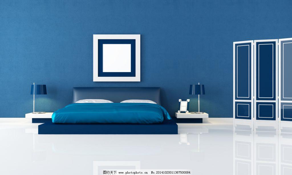 室內臥室簡潔藍色調設計免費下載 高清大圖 墻紙 室內設計 臥室 現代簡約 室內設計 臥室 簡潔情調 現代簡約 高清大圖 墻紙 冷色系 家居裝飾素材