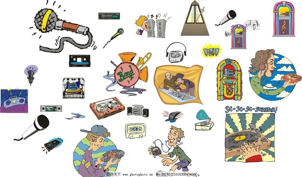 音乐图标 磁带 音响 萨克斯 话筒 矢量 cdr 设计 广告设计 卡通设计
