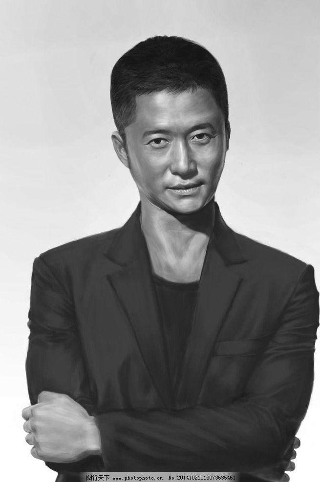 吴京素描头像图片,手绘 明星 文化艺术 绘画书法-图行