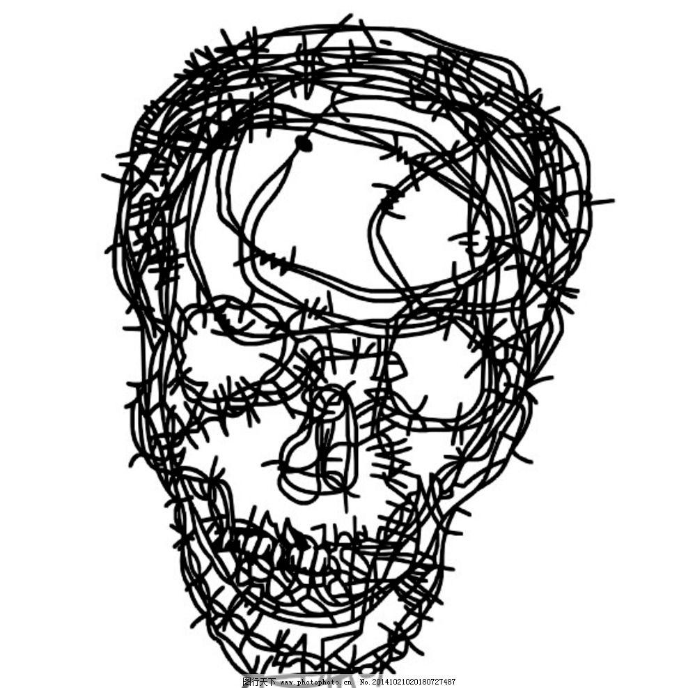 铁丝 骷髅 图标 印花 矢量图形 设计 标志图标 其他图标 eps