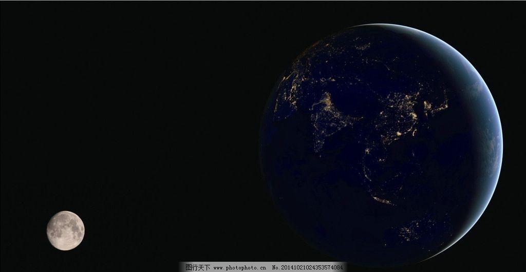 西半球 东半球 炫酷月亮 月亮夜景 月亮素材 太空 星空景观 地球夜景