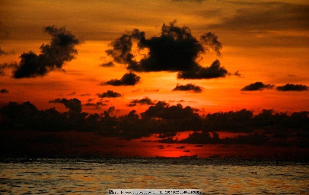 火红落日图片_自然风景_自然景观_图行天下图库