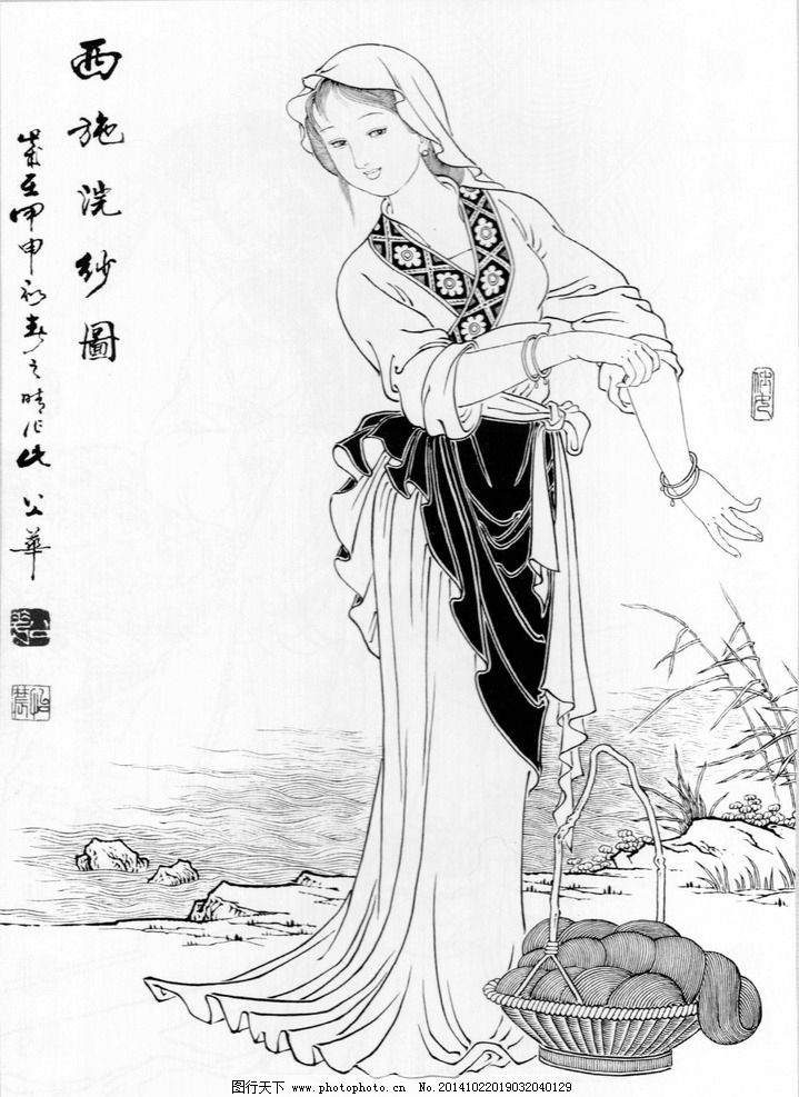 工笔白描底稿 国画 水墨 白描 绘画 工笔 古代人物 线勾图 仙女 绘画-工