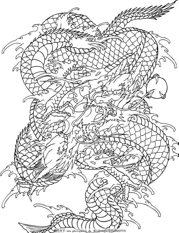 龙纹 线描龙 白描龙 龙纹身 传统龙 图腾 中国龙 龙形 恭贺新禧 线 描图片