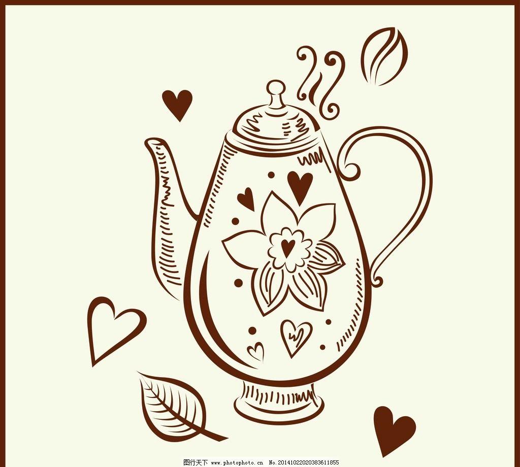 复古 手绘 咖啡 小资 古典花纹 咖啡壶 星巴克 古典插画 适量插画