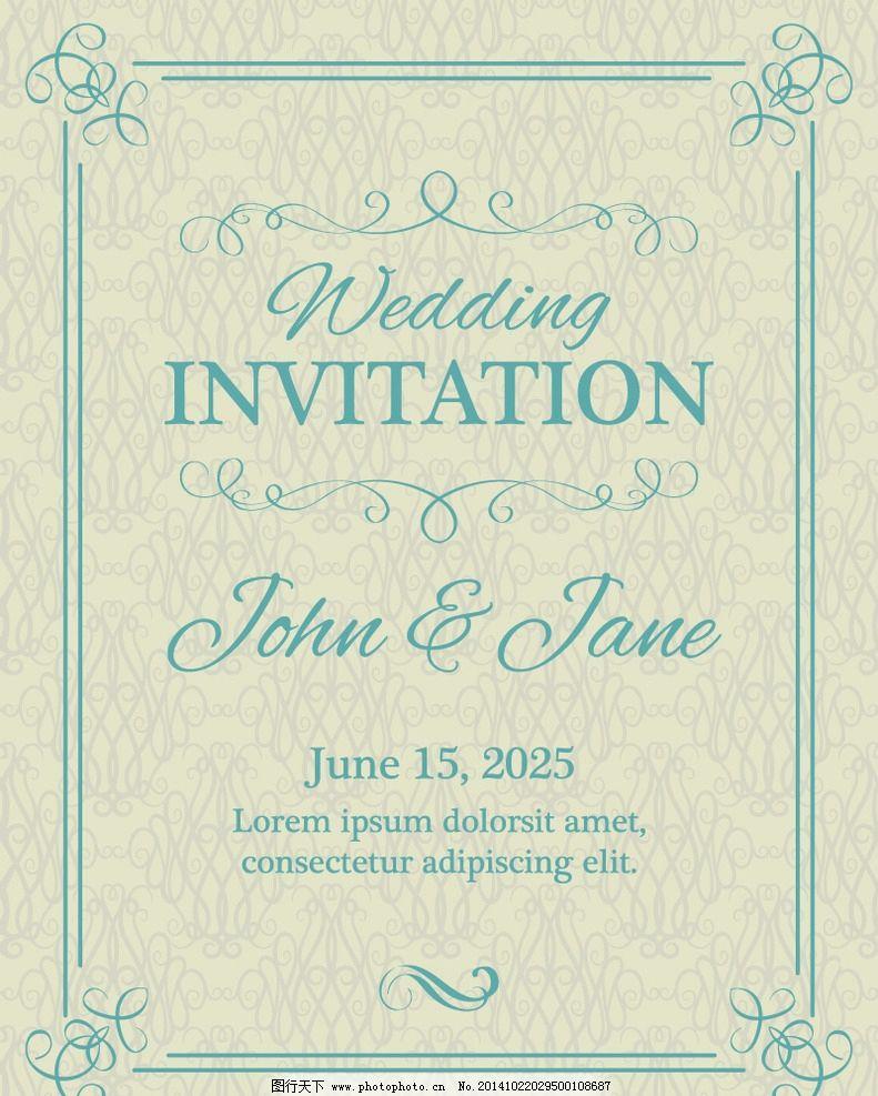 婚礼邀请卡 婚礼 欧式花纹 花边 边框 婚庆 封面设计 手绘 贺卡 设计