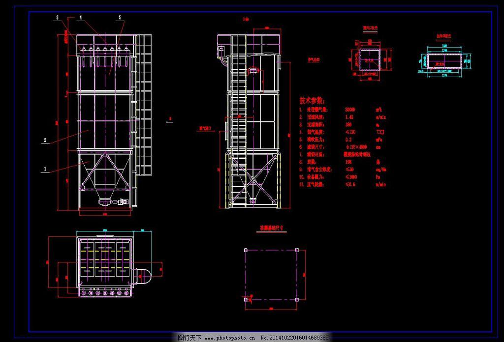 机械图纸 3万布袋除尘器总图 机械图纸 cad结构图纸 cad素材 机械工业
