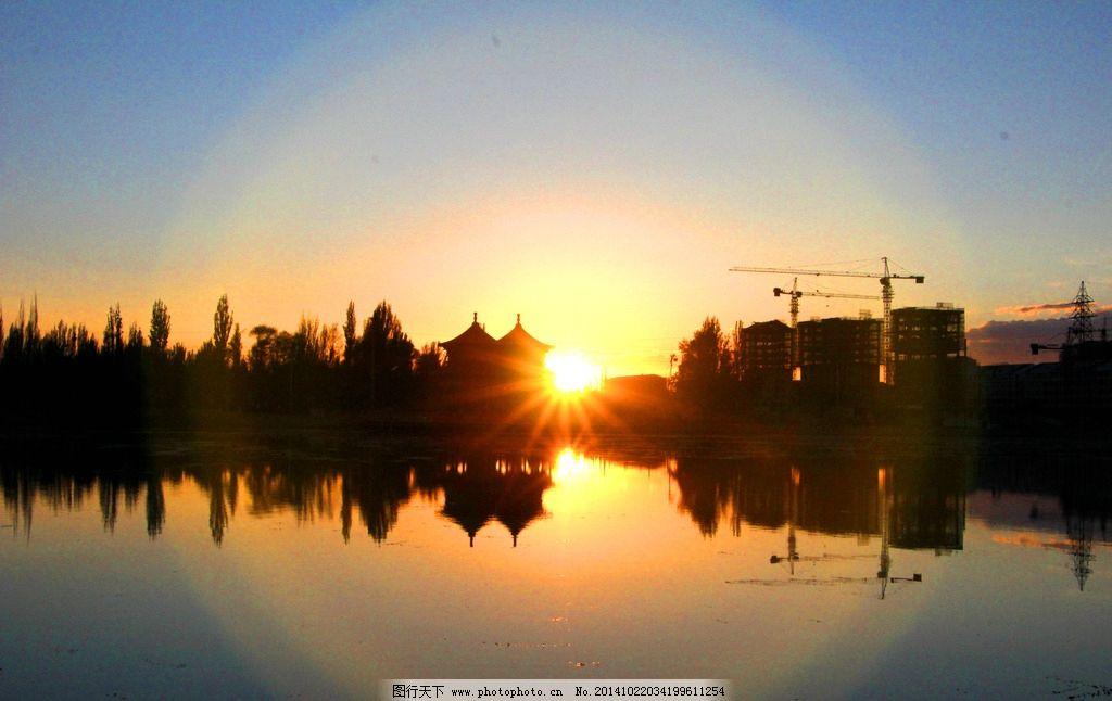 水面倒影 建筑倒影 黄昏景色 黄昏湖面景色  摄影 旅游摄影 自然风景
