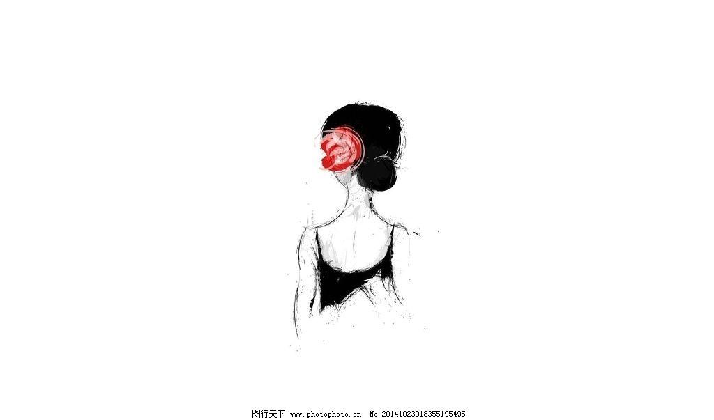 简单女生背影素描图片
