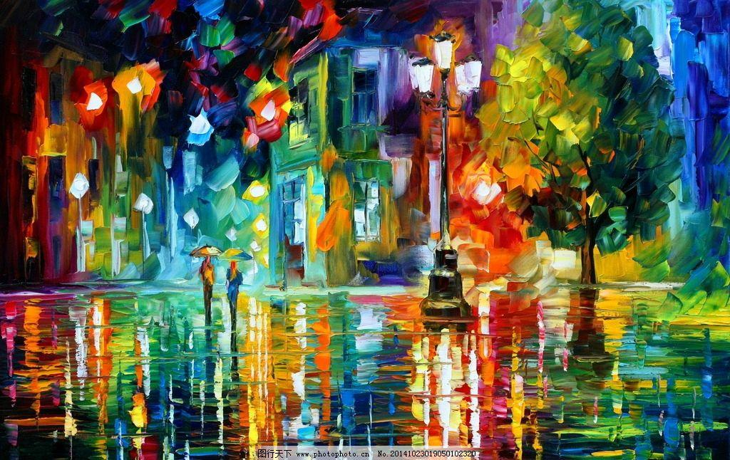 抽象城市街景油画图片