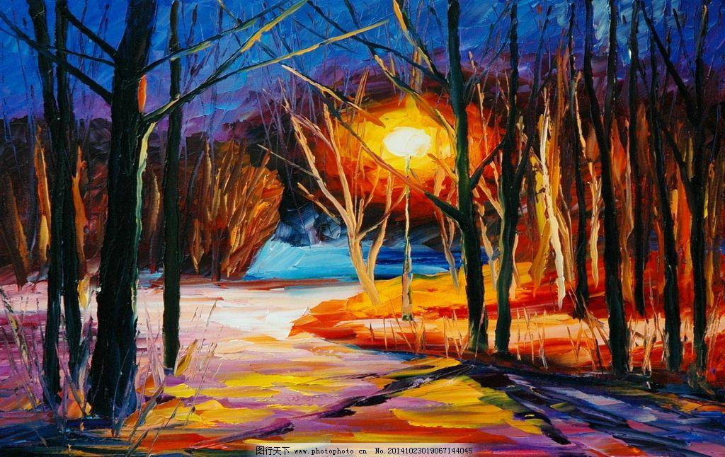 树林水彩风景油画图片