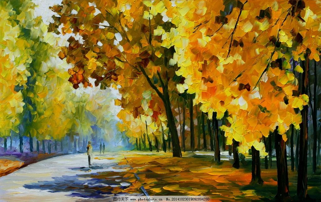 树木 森林 林荫小路 马路 风景油画 抽象风景画 装饰画 无框画 水彩油
