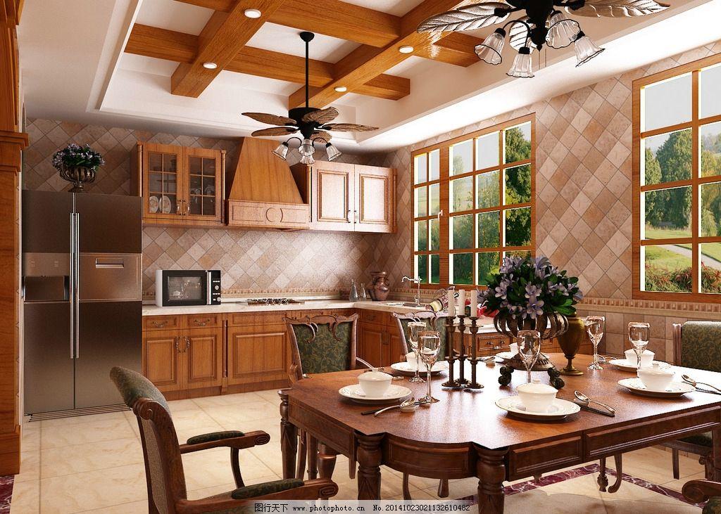 餐桌 餐厅 酒柜 冰箱 实木吊顶 餐厅吊顶 实木餐桌 实木橱柜  设计 3d