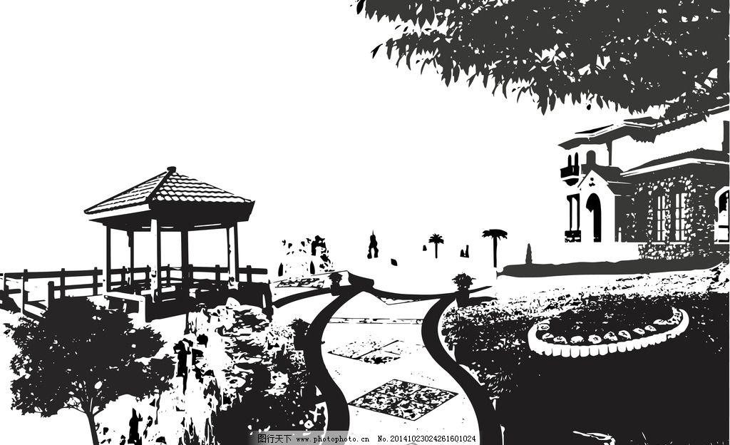 亭水楼阁 黑白 水墨 线图 风景 水墨景色 水墨园林