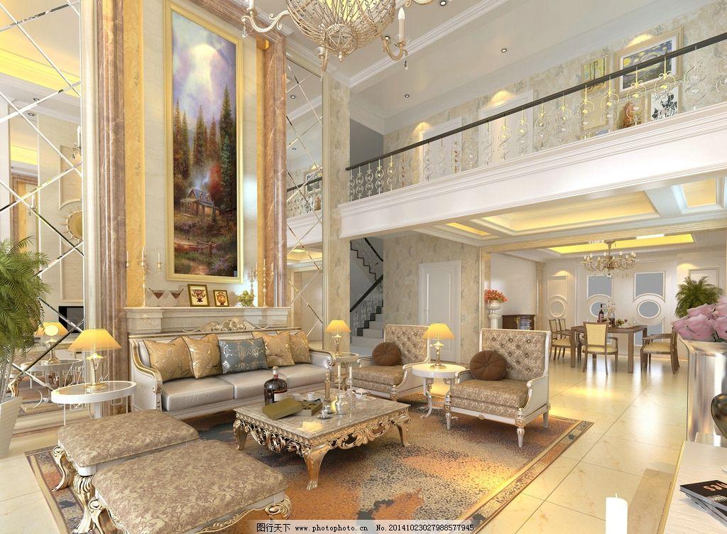 简欧式别墅大厅图片