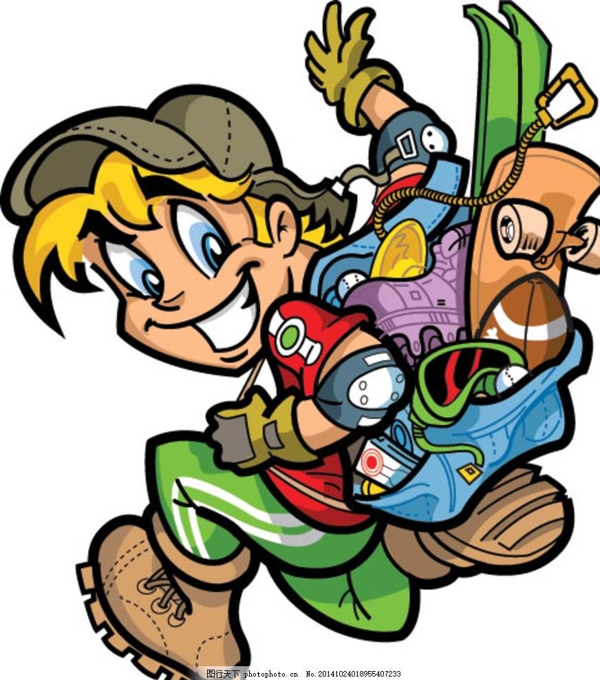 滑板少年 儿童 手绘卡通人物 城市运动 酷运动 极限运动 娱乐 刺激