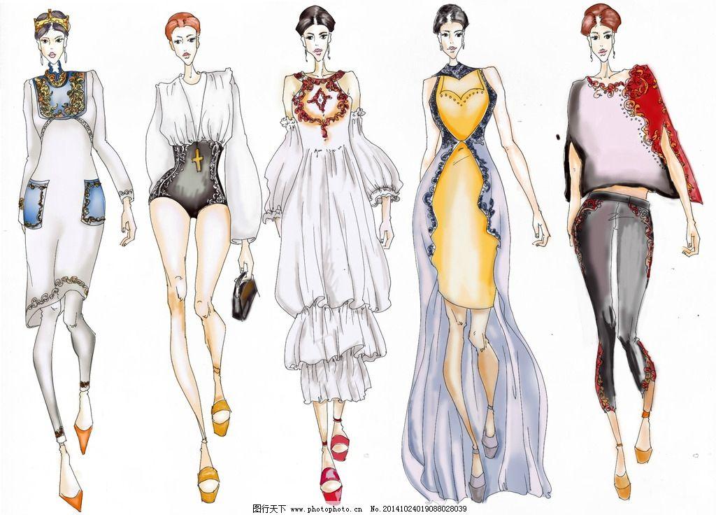 服装效果图 优雅 时尚 系列 手绘 设计 文化艺术 绘画书法 300dpi jpg