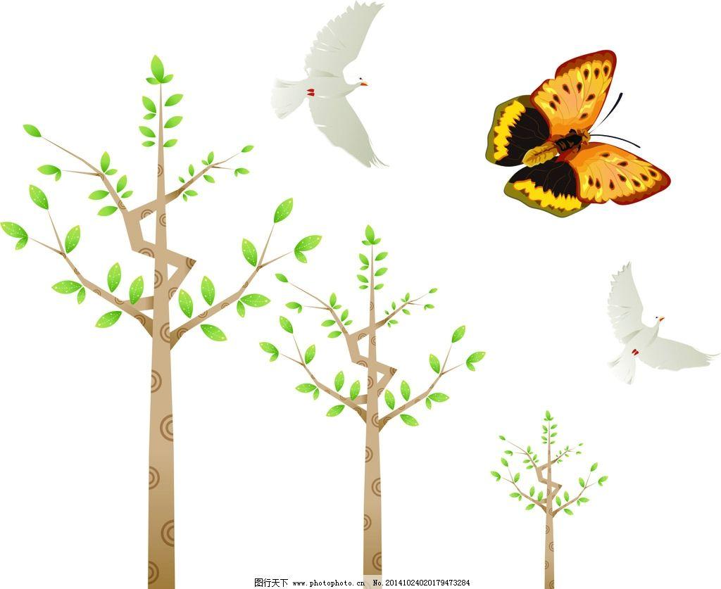 可爱卡通 儿童素材 幼儿园素材 卡通素材 矢量素材 装饰素材 树木