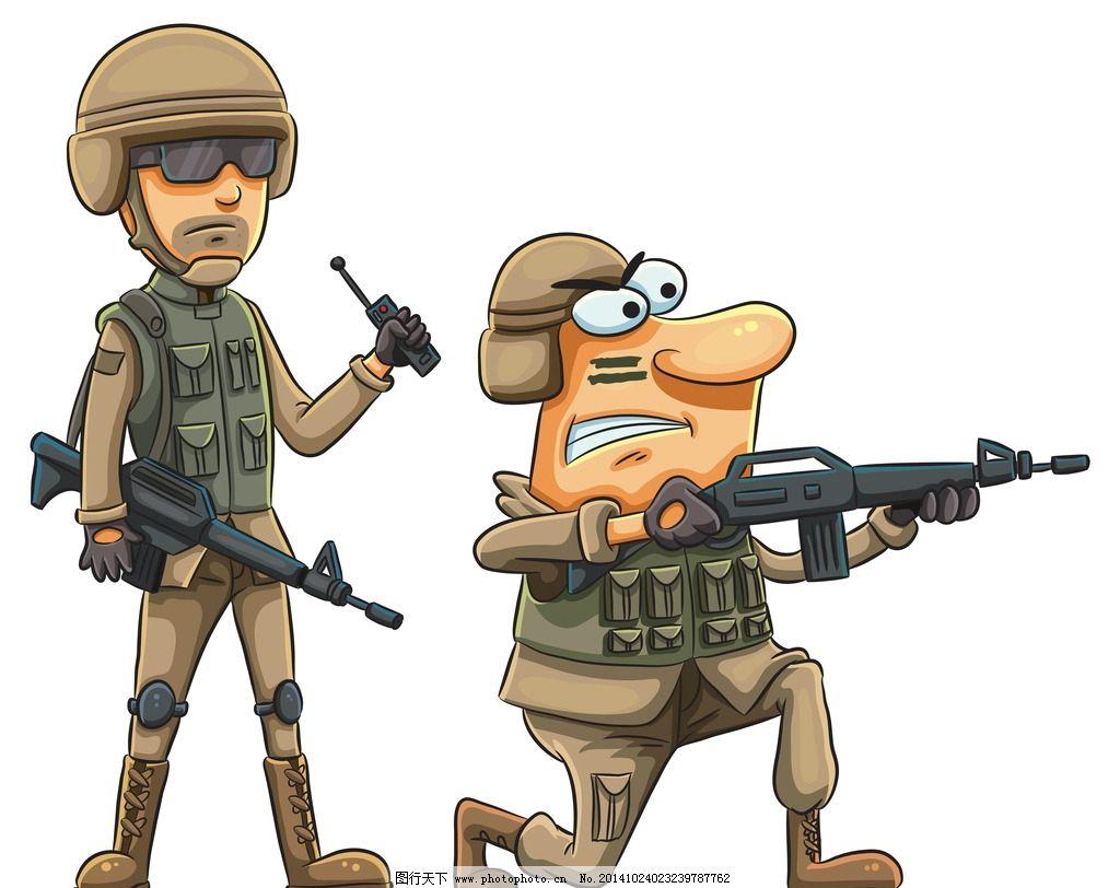 卡通人物 手绘 士兵 战士 动漫设计 卡通插画 设计 人物图库 职业人物