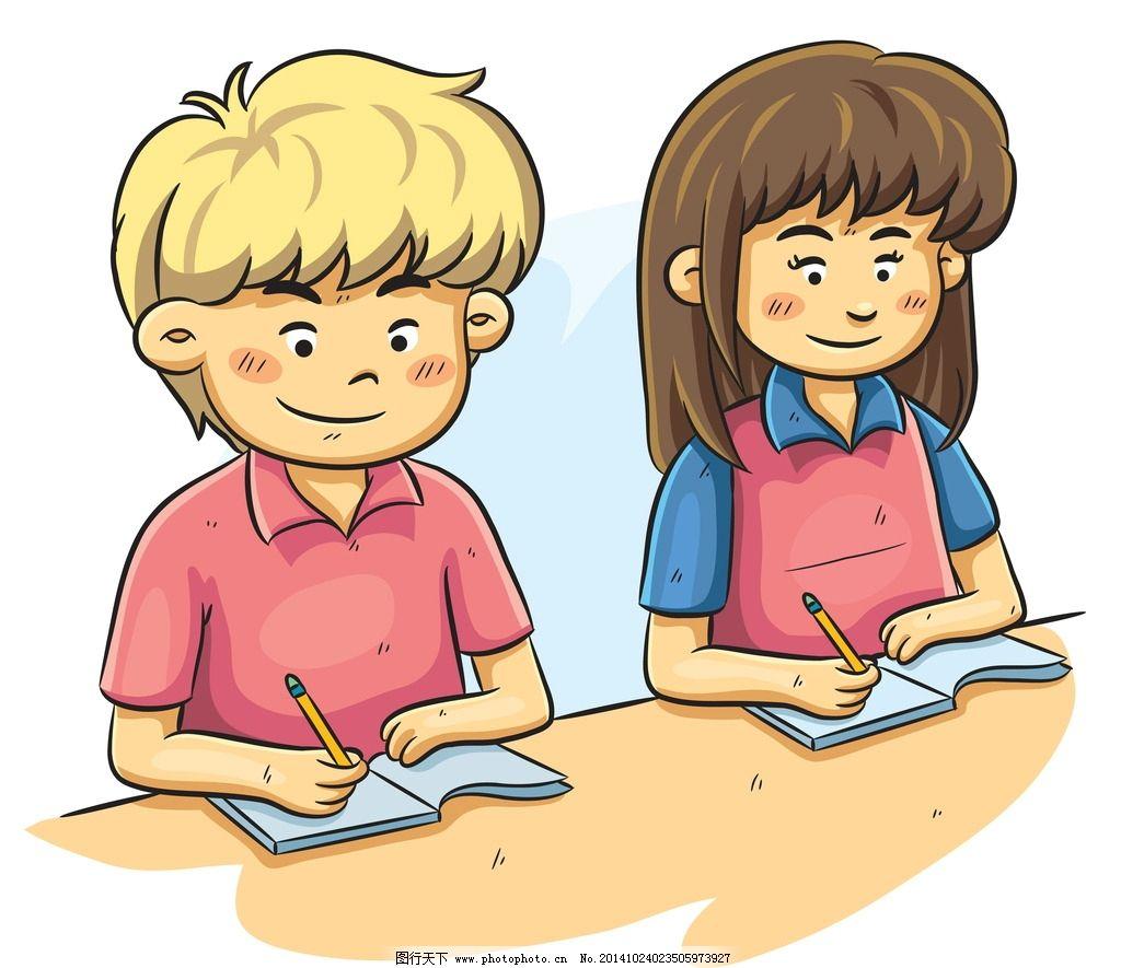 卡通儿童 卡通学生 少女 男孩 卡通女孩 手绘 卡通插画 设计 设计