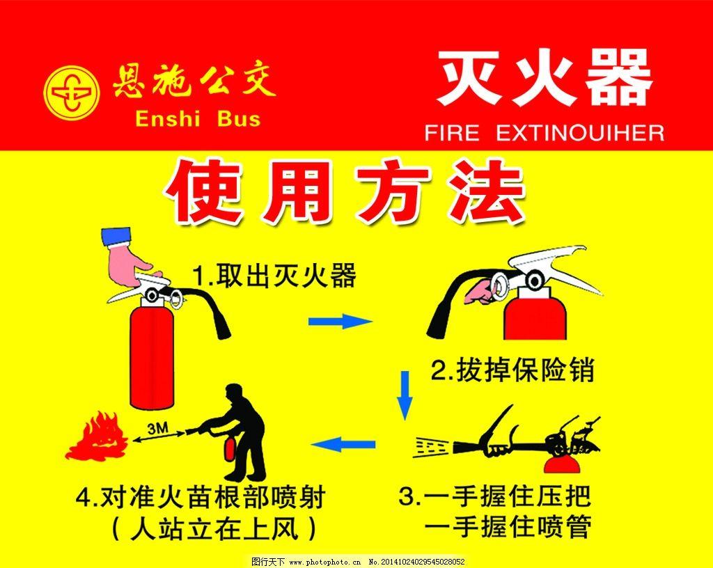安全 灭火器 操作方法 消防 使用须知 使用步骤 逃生 设计 广告设计