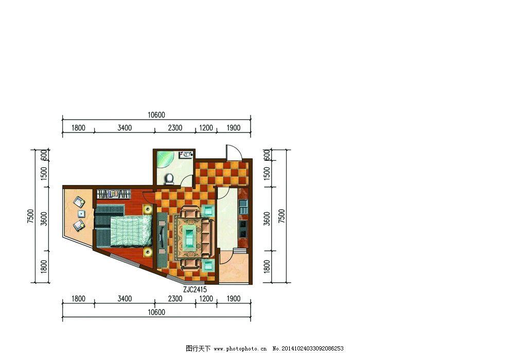 户型平面图 彩图 住宅