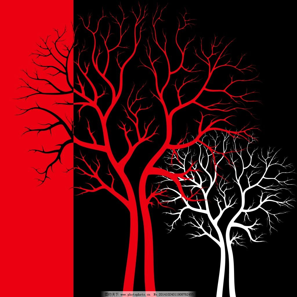 树木图片免费下载 白色 红色 无框画 红色 白色 无框画 家居装饰素材