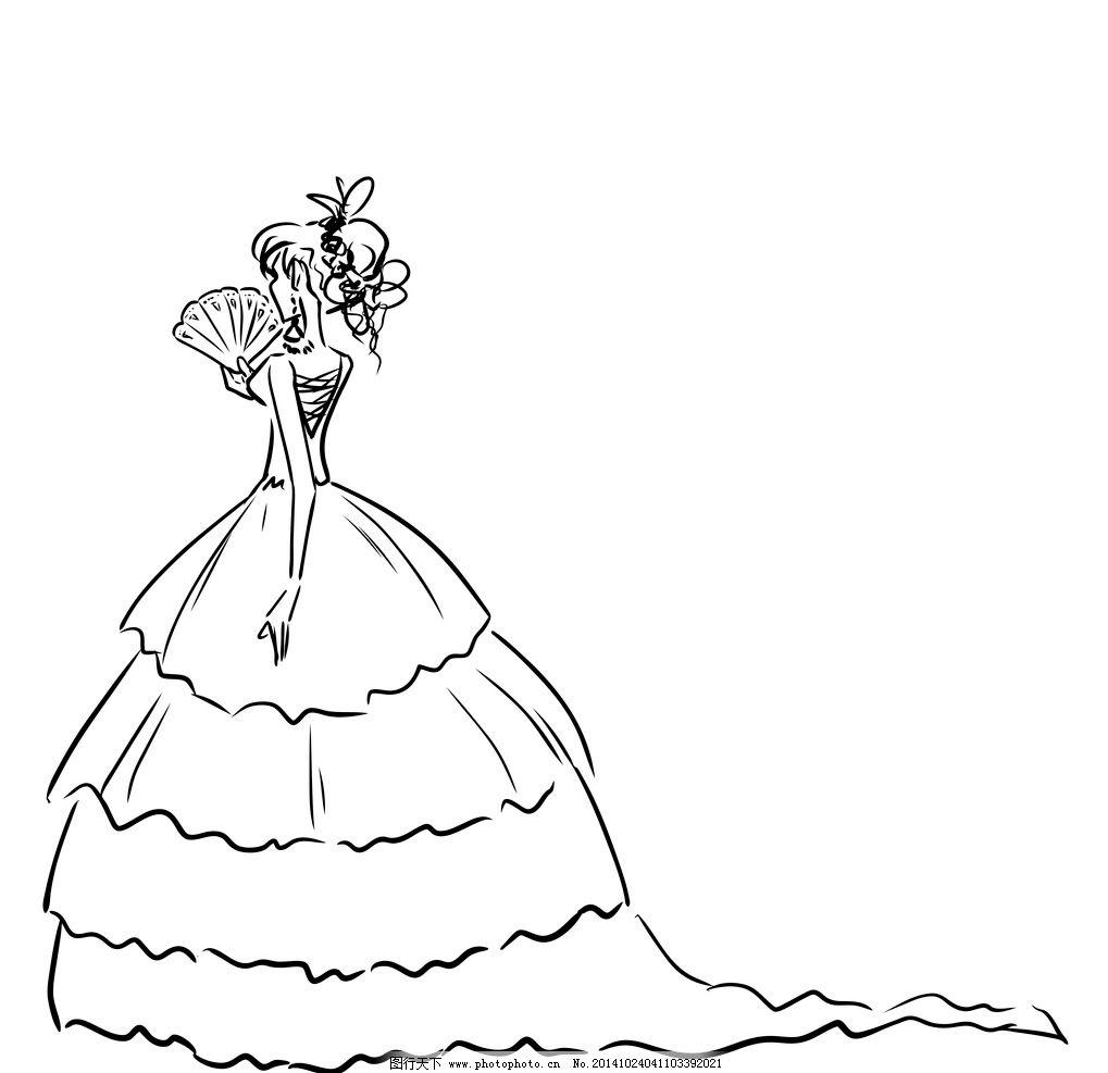 手绘少女 女孩 新娘 女人 时尚美女 卡通女生 简笔画插图 矢量人物