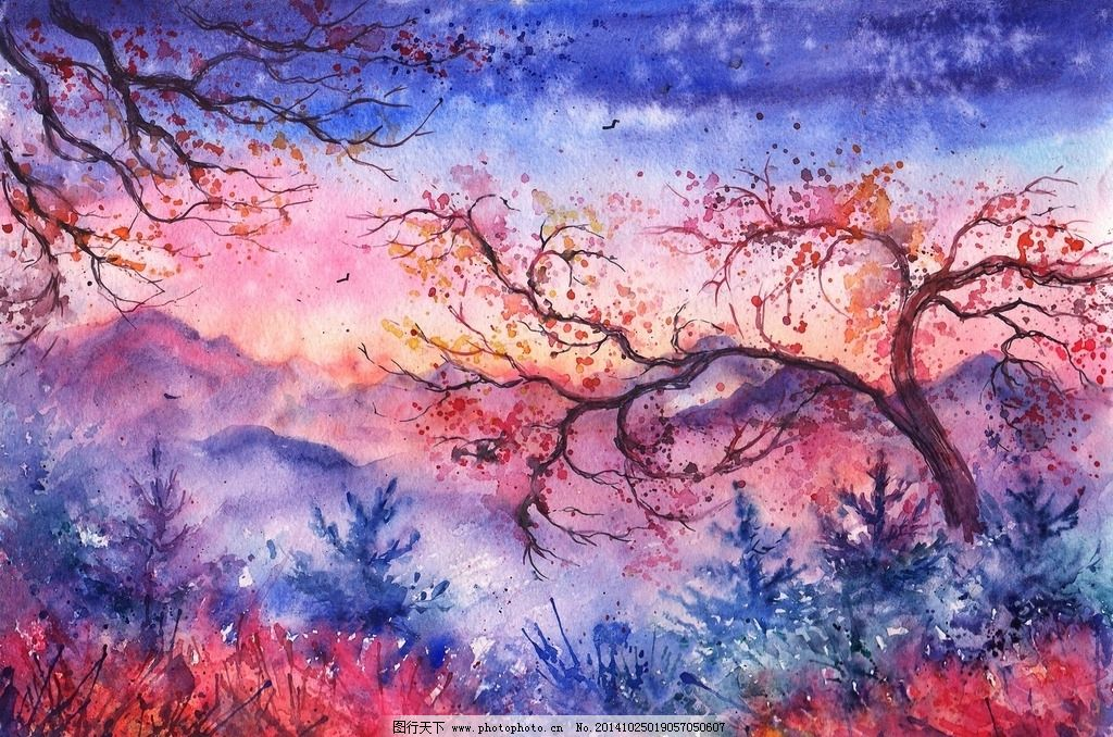 水墨画 水彩风景