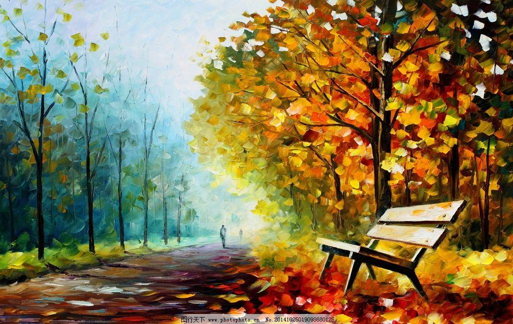 马路风景油画图片