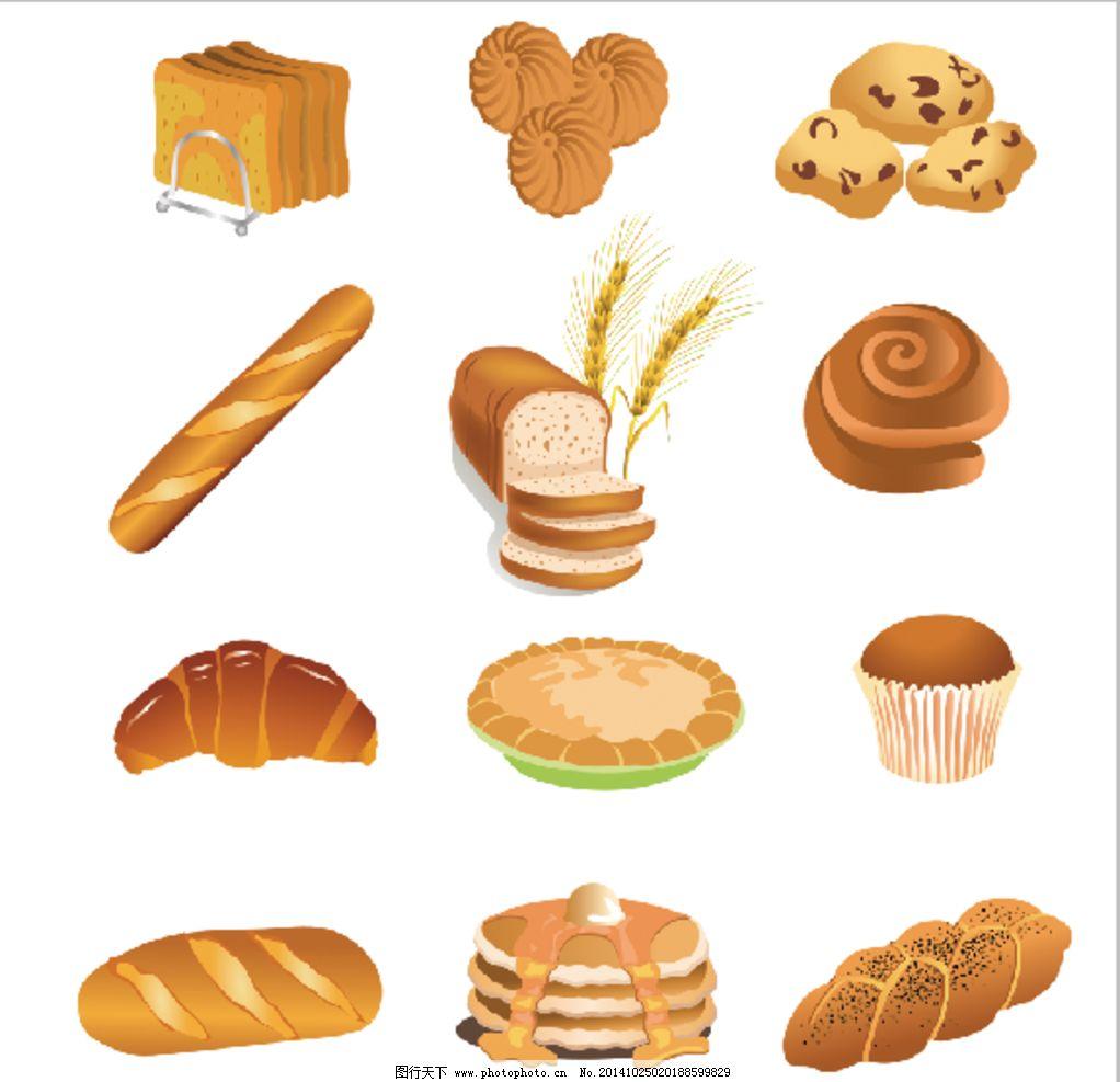 西餐厅 西点 手绘 彩色 卡通 面包 热狗 蛋糕 西点图片 设计 广告设计