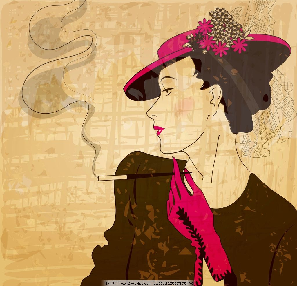 手绘少女 女孩 女人 时尚美女 吸烟 卡通女生 简笔画插图 矢量人物