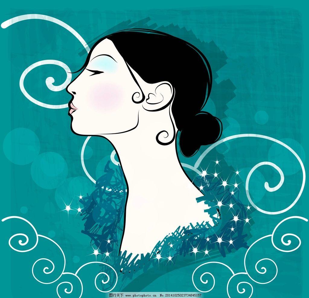 时尚美女 卡通女生 简笔画插图 矢量人物 设计  设计 人物图库 女性