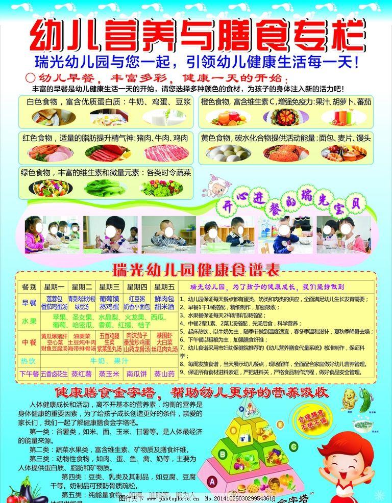幼儿宣传栏 营养金字塔 健康食谱 幼儿园展板 幼儿营养 营养与膳食 设