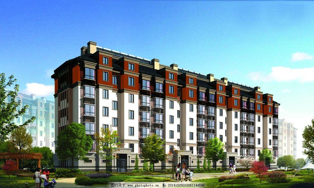 住宅楼 绿化 外墙 高档小区        设计 psd分层素材 psd分层素材