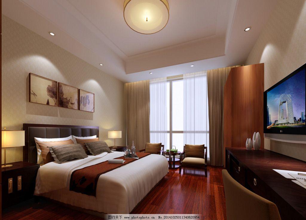 米色简单卧室_室内设计_装饰素材_图行天下图库