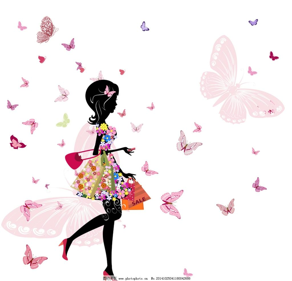 手绘少女 女孩 女人 飞舞蝴蝶 购物 时尚美女 卡通女生 简笔画插图