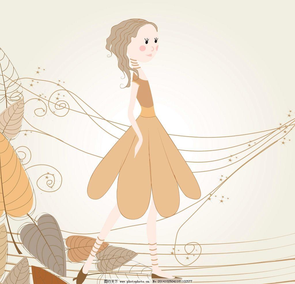 手绘少女 女孩 女人 时尚美女 卡通女生 简笔画插图 矢量人物