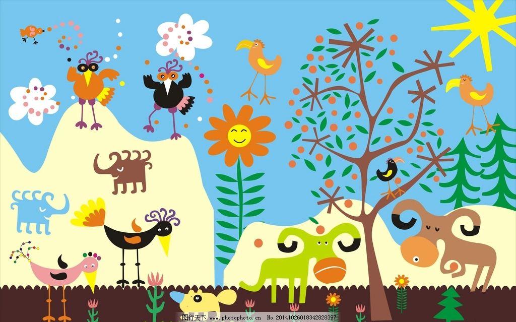 卡通背景图 儿童背景 幼儿园 动物 可爱 背景墙 广告设计 卡通设计