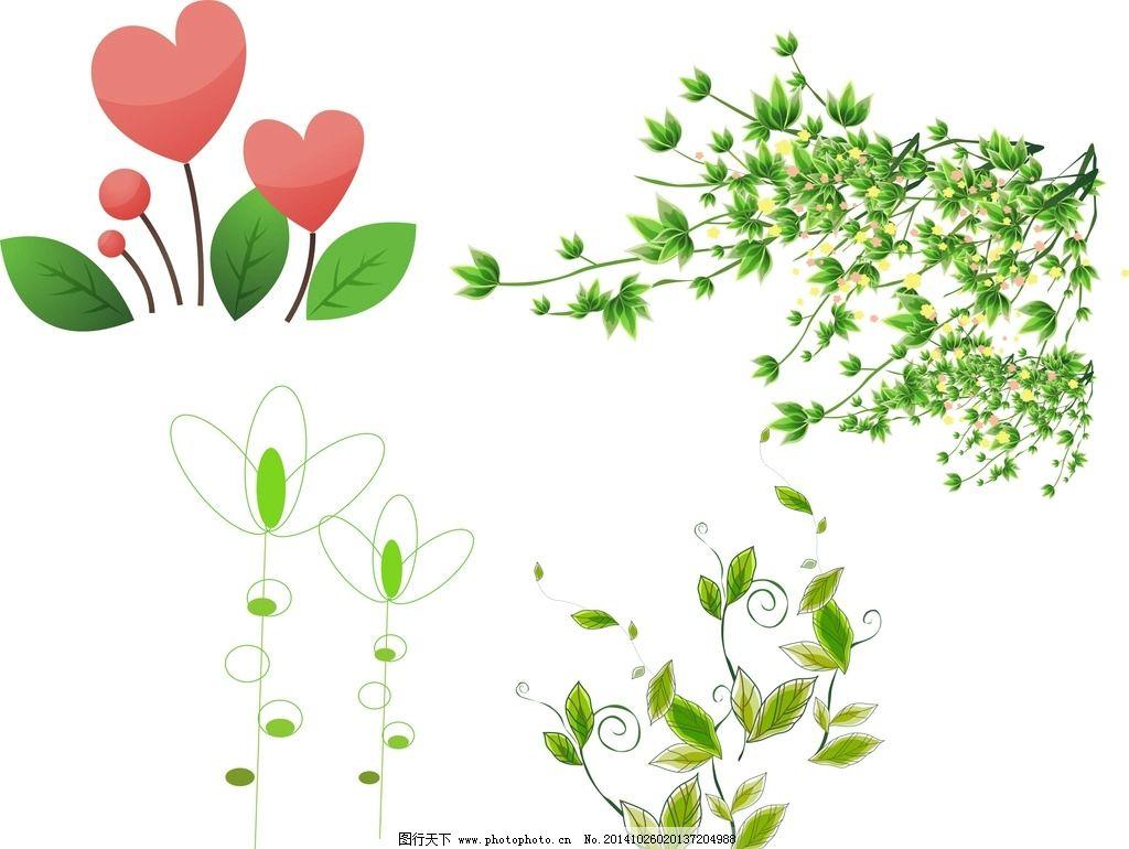 矢量树叶 花朵图片,花卉植物 花草 手绘 时尚 春天-图